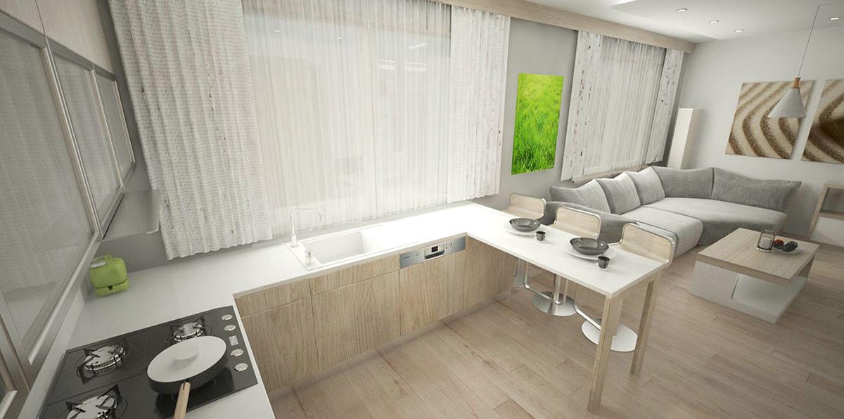 Kuchyňské sezení je tvořeno jako součást kuchyňské linky se středně vysokými židlemi, které si zvolili majitelé.