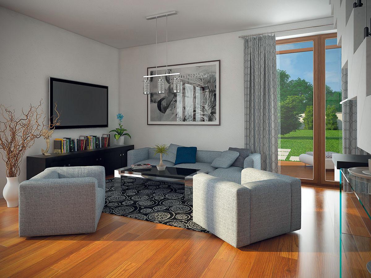 Odpočinkový prostor sknihovnou aprosklenou stěnou svýhledem do zahrady. OBRÁZKY JIŘÍ BOSÁK