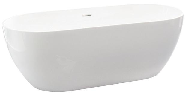 Samostatně stojící akrylátová vana Freedom od značky Ravak, 169 × 80 cm, objem 320 l, uprostřed umístěný odtok, 44 900 Kč