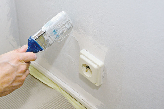 Začínejte malovat od detailů – první na řadě by měly být malé plochy kolem zásuvek, vypínačů, rámů oken, dveří a po obvodech stěn. (foto: Dano Veselský)