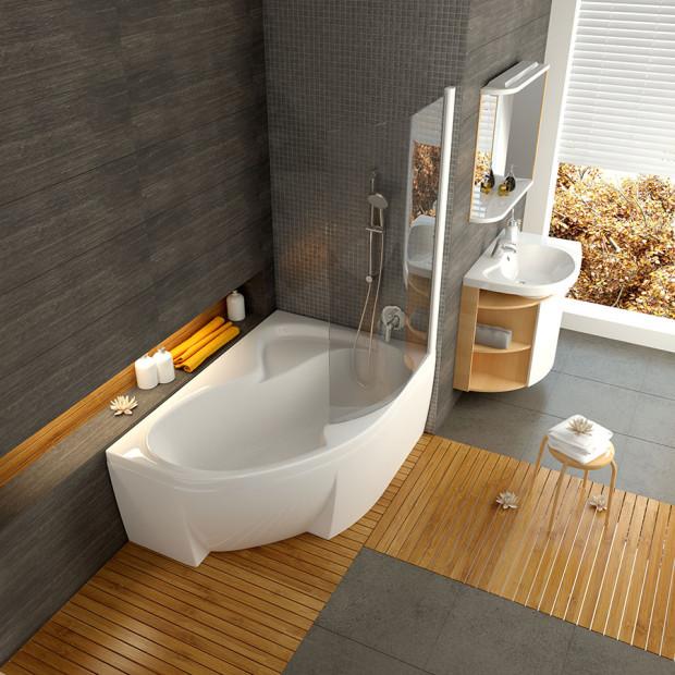 Vana Rosa byla speciálně navržena jako koncept, který by umožnil skloubit sprchování a koupel i v malých koupelnách. Důmyslně navržené dno umožňuje v kombinaci se speciálně tvarovanou zástěnou pohodlné sprchování, vana je zároveň dostatečně velká pro příjemnou koupel.(foto: Ravak)