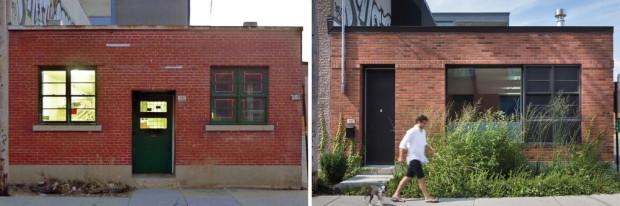 Vchod před a po Foto: Stéphane Groleau