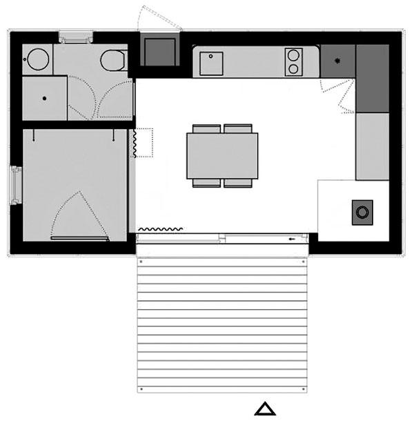 Menší typ domu je určen jednotlivci nebo dvojici. Stejně jako větší typ je široký 4metry, na délku má však jen 7 metrů. Obytná místnost má 23 m2, terasa je stejná jako uvětšího typu.