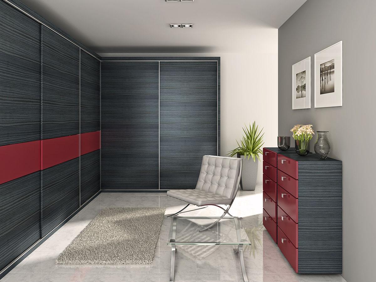 Zajímavou volbou může být provedení folie portuna černá a tmavě červená ve formě proužku, který protíná plochu vestavěné skříně. FOTO TRACHEA