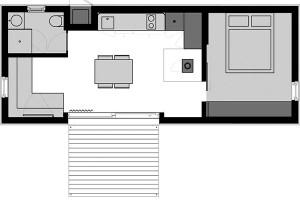 Větší typ má dvě půdorysné varianty amohla by vněm bydlet dvou- až čtyřčlenná rodina. Základní rozměry 10,6 metru na délku a4 metry na šířku určují celkový půdorys 43 m2. Kobytné místnosti splochou 38 m2 přiléhá vnější terasa (7 m2).