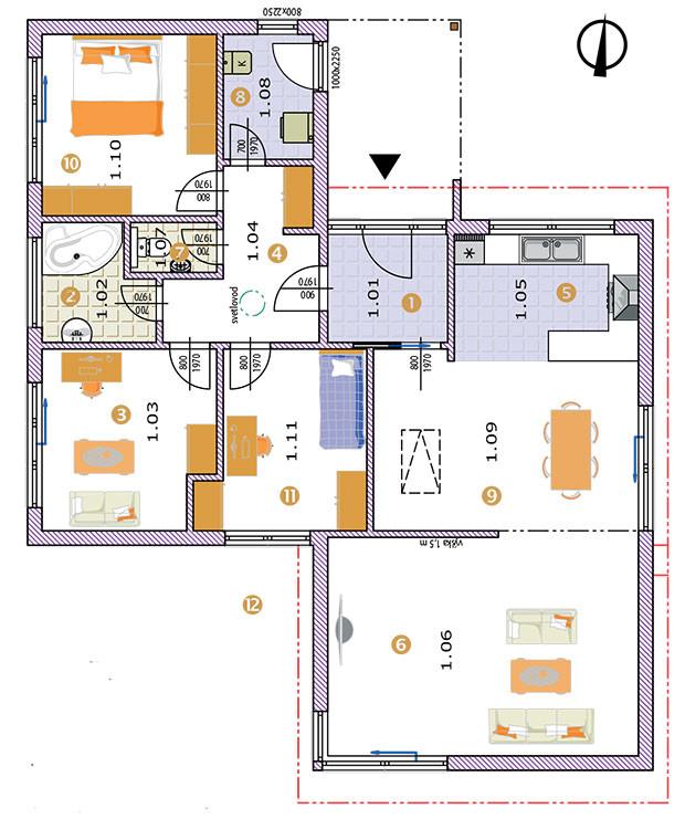 Přízemní dům scelkovou podlahovou plochou 115,14 m2 je koncipován pro čtyř- až pětičlennou rodinu. Půdorysně je navržen jako dva vzájemně posunuté obdélníky, kterým odpovídá dispoziční rozdělení na denní anoční zónu, jakož imateriálové členění stavby atvar střech nad jednotlivými částmi.