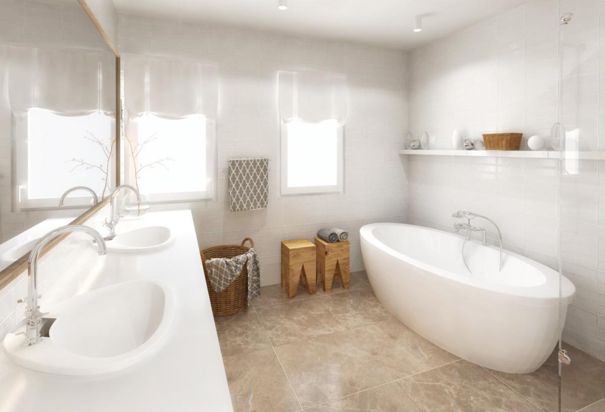 Dlažba z mramoru (nebo s mramorovým vzorem) v teplém odstínu se přibližuje barvě dřeva, což interiér sjednocuje. Praktické odkládací stolky jsou v koupelně důležité, bez ohledu na její plochu.