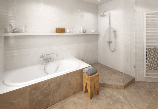 Varianta 1 – volně stojící vana s plně uzavřeným zaskleným sprchovým koutem.
