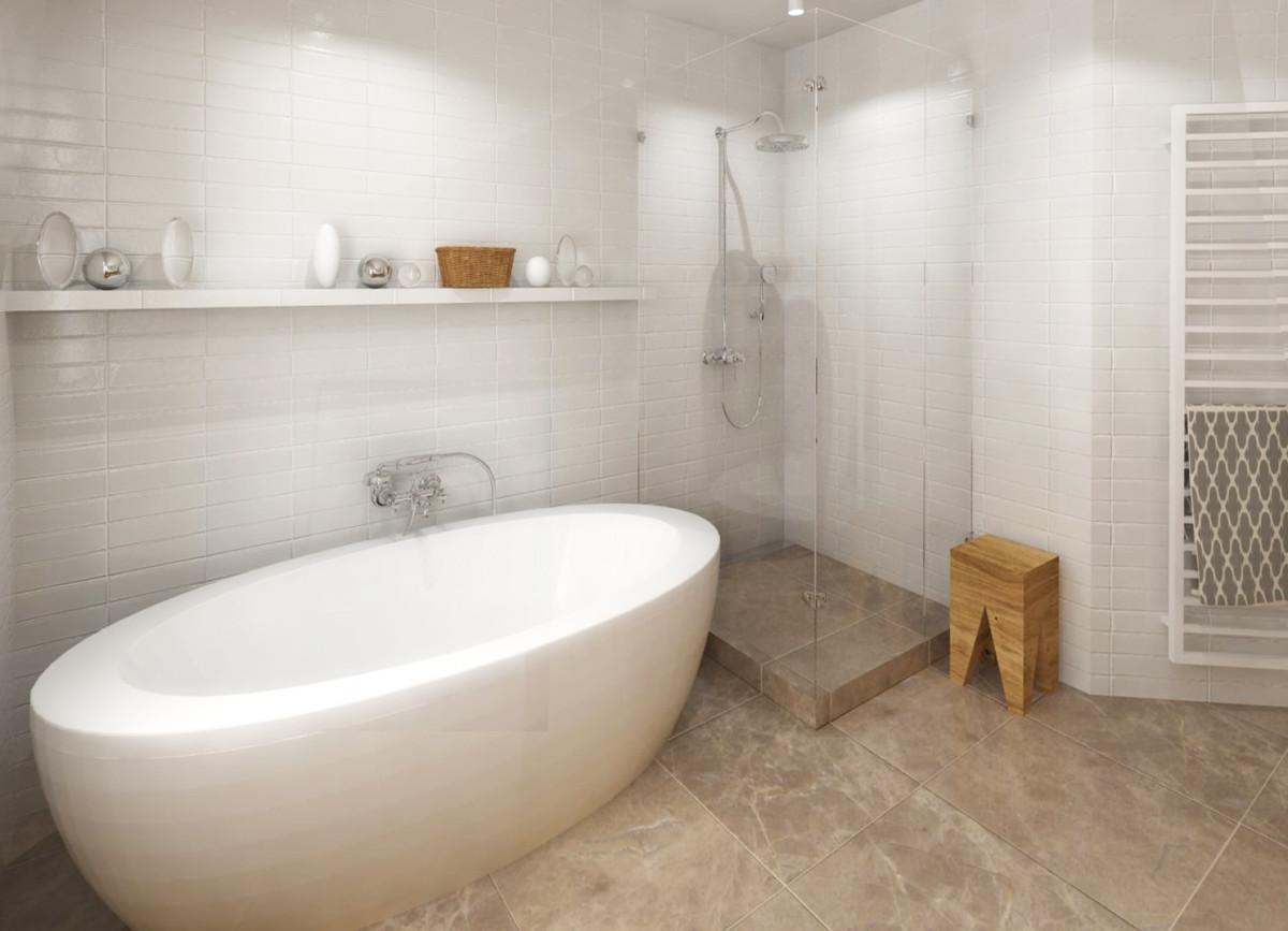 """Varianta 2 – zabudovaná vana s otevřeným """"Walk-In"""" sprchovým koutem, tvarem přizpůsobeným půdorysu místnosti."""
