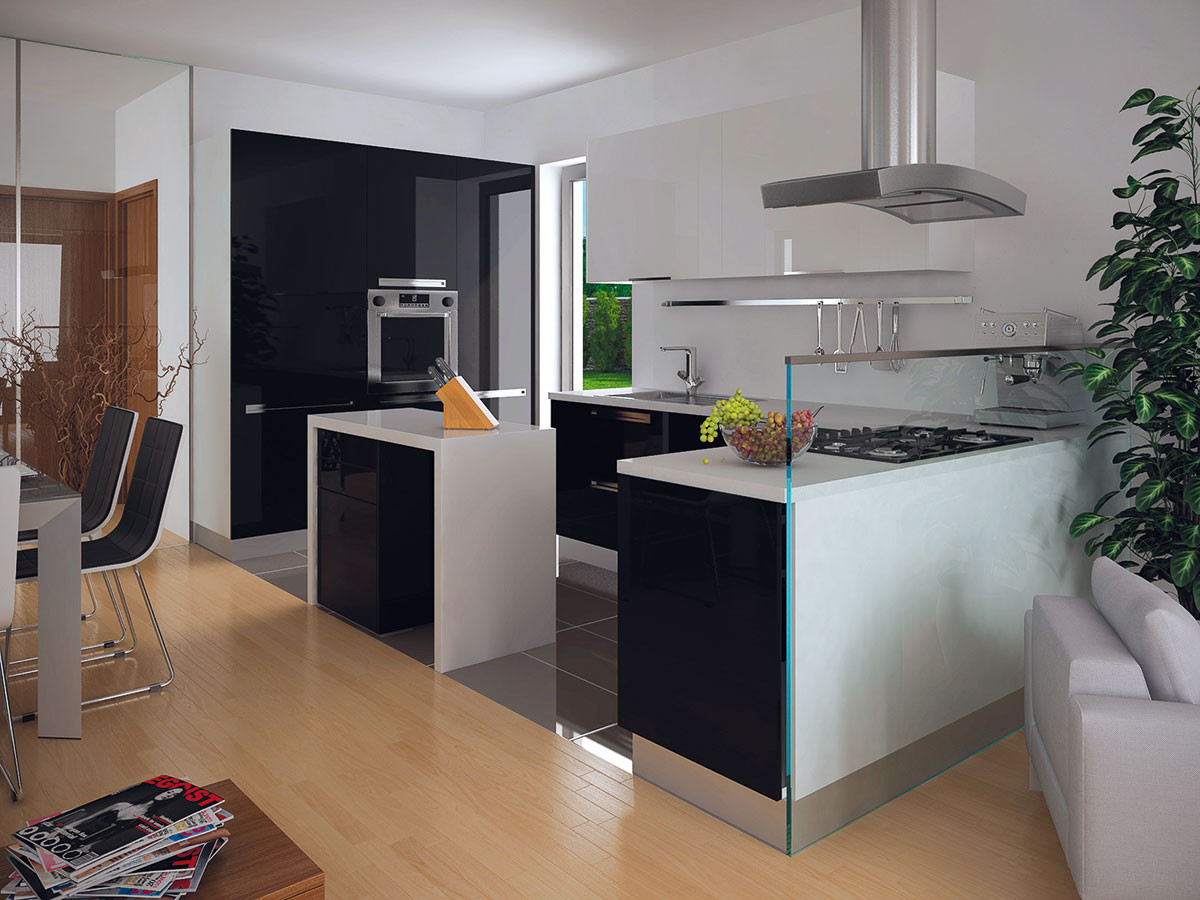Prostorná kuchyně je v přímém kontaktu se vstupem do domu skrze okno. OBRÁZEK EKONOMICKÉ STAVBY