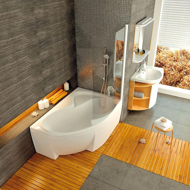 Pokud si zařídíte koupelnu sestavou Rosa od společnosti Ravak, vyjde vás sestava včetně vany, zástěny, umyvadla, skříněk, baterií, sprchové hadice a růžice na asi 55 000 Kč. FOTO RAVAK