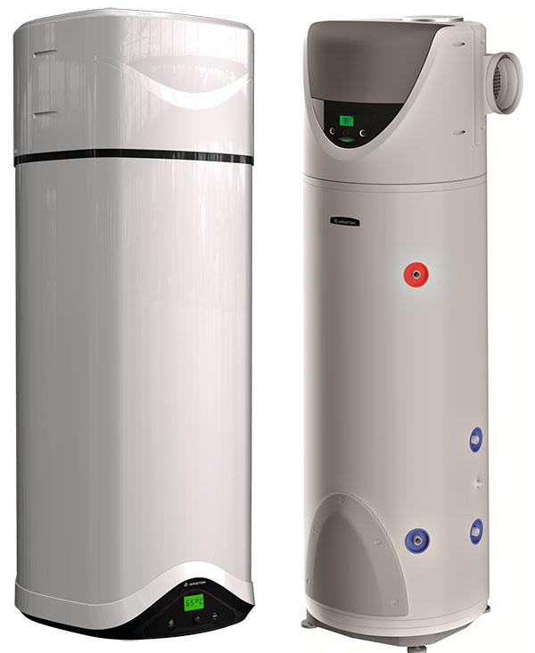 Ohřívače vody na bázi tepelného čerpadla Nuos Evo – vlevo závěsná a vpravo stacionární varianta foto: Ariston Thermo CZ