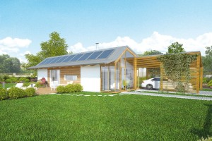 Vizualizace projektu energeticky úsporného domu E Singl. Dům je postaven zEkopanelů (jádro panelu zlisované slámy, opláštěné recyklovaným papírem). Vše bez použití chemických přísad. Tento materiál se vyznačuje vysokou požární odolností, výbornými tepelněakumulačními azvukověizolačními vlastnostmi). Vypočtený průměrný součinitel prostupu tepla obálky budovy Uem = 0,18 W/(m2 . K). FOTO EKOPANELY