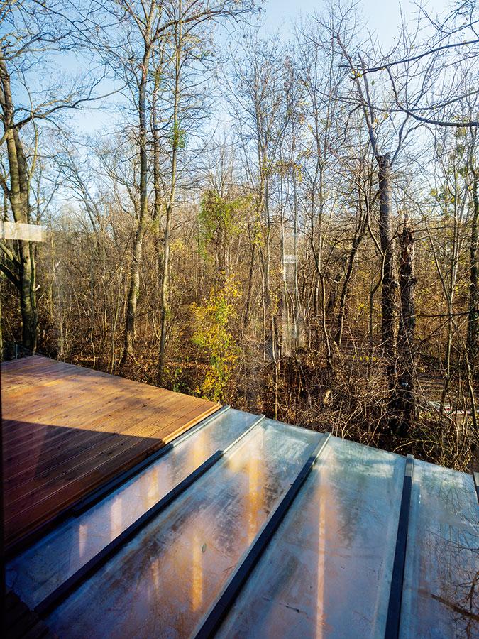 Zhorní terasy mají majitelé příjemný výhled do lesa. Kvůli bezpečnosti však přibude ještě zábradlí, aby si ho vbudoucnosti mohly bezpečně užívat iděti.