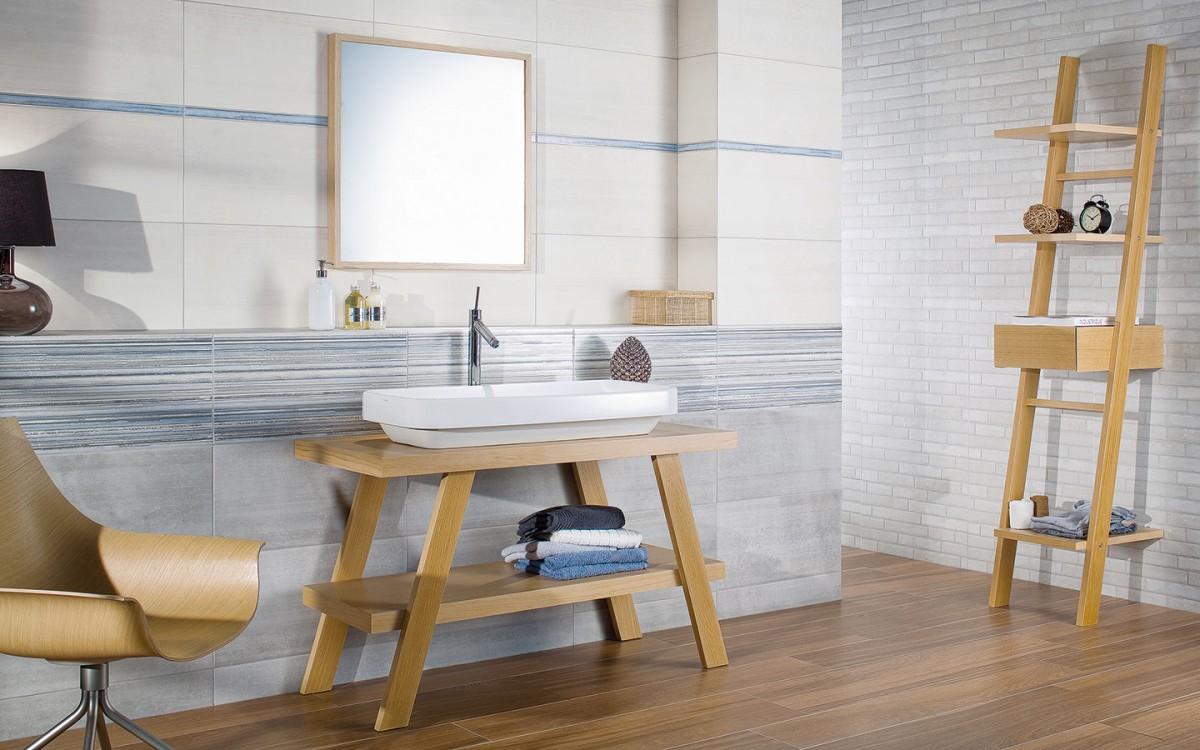 Jemně stěrkovaný reliéf v kombinaci s designem výraznějšího cementového povrchu, neutrální barevnost a dekorace v tlumených barvách, to vše jsou přednosti série Soft. FOTO RAKO