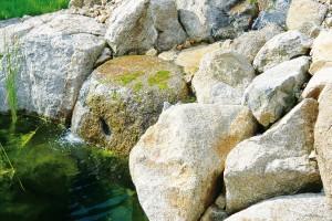 Při plánování zahrady hrají důležitou roli také materiály. Zohledněte jejich strukturu, provedení i barevnost. Při výběru kamene upřednostněte místní zdroj před dovozem vdané oblasti nepůvodní horniny. FOTO LUCIE PEUKERTOVÁ