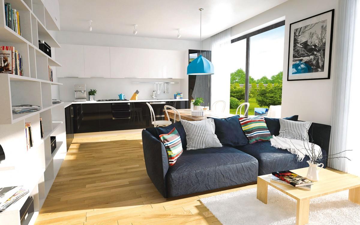 Obývací pokoj menšího zdomů je spojený skuchyní, jídelnou asamozřejmě velikými francouzskými okny sterasou azahradou. NAVRH EKONOMICKÉ STAVBY