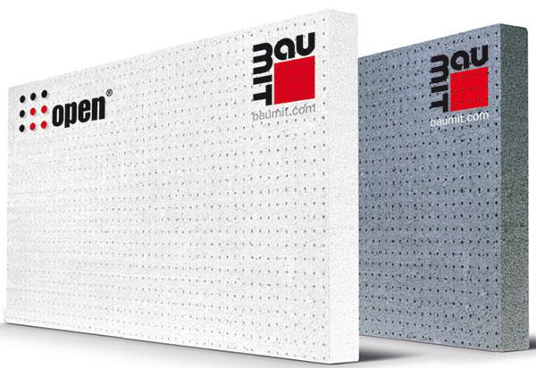 Stabilizované fasádní desky zlehčeného bílého (Baumit openTherm) nebo šedého (Baumit open plus) polystyrenu se sníženou hořlavostí amimořádnou paropropustností.zdroj Baumit