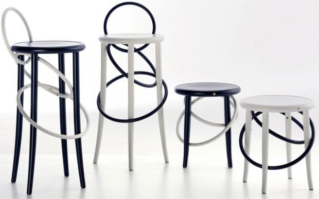 Cirkusové házení kruhů inspirovalo Martina Gampera při návrhu kolekce židlí Cirque family pro značku Gebrüder Thonet Vienna. Tradiční elegance výrobků této značky však zůstala zachována. (foto: Gebrüder Thonet Vienna)