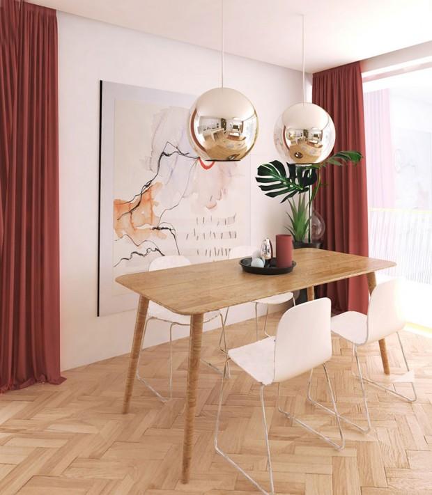 Barevná škála, jejímž základem je výrazná vínově červená, se jednoduše kombinuje s neutrálním podkladem v podobě dubového dřeva a bílé barvy. Rozhodující jsou doplňky, které tuto kombinaci podpoří. Dřevěné plochy tvoří několik odstínů, výsledek v interiéru je tak mnohem přirozenější. Masivní dřevěný stůl je v tomto duchu z tmavšího dřeva než podlaha. NÁVRH LUCIA KUŠNÍROVÁ