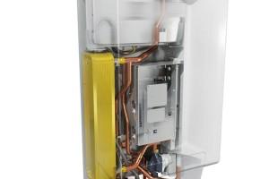 Hybridní tepelné čerpadlo Daikin Altherma kombinuje systém split tepelného čerpadla vzduch-voda (vnitřní avnější) aplynového kondenzačního kotle. Je určeno pro ohřev teplé vody, vytápění achlazení. Maximální průtočná teplota 80 °C. Technologie řízení invertorem. FOTO DAIKIN