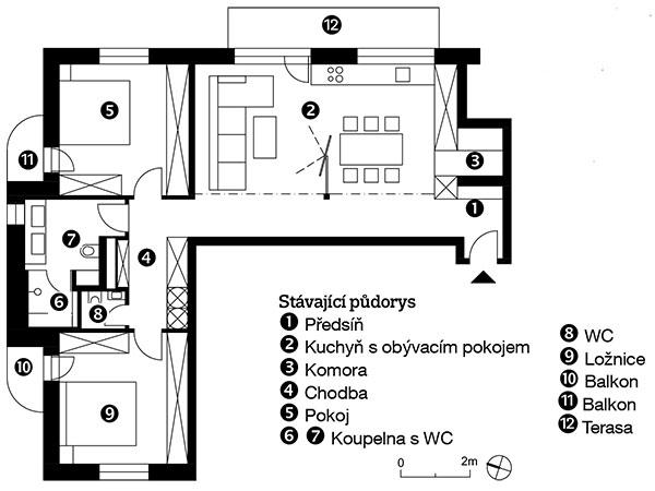 Vyčištěná dispozice zbavila byt nepotřebných stěn aarchitekti se posouváním dveří postarali ovytvoření dostatečného množství úložného prostoru vobou pokojích ana chodbě.