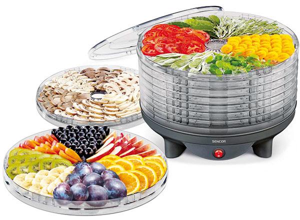 Sencor SFD1309BK, sušička potravin, 9 sušicích sít, integrovaný ventilátor, průhledné víko, tepelná pojistka proti přehřátí, 33 × 33,4 × 26 cm, 1 199 Kč