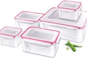 Sada plastových dóz Clip na skladování apřenášení potravin, 5 ks, 1× 5,3 l, 2× 1,1 l a2× 430 ml, Lamart, 499 Kč