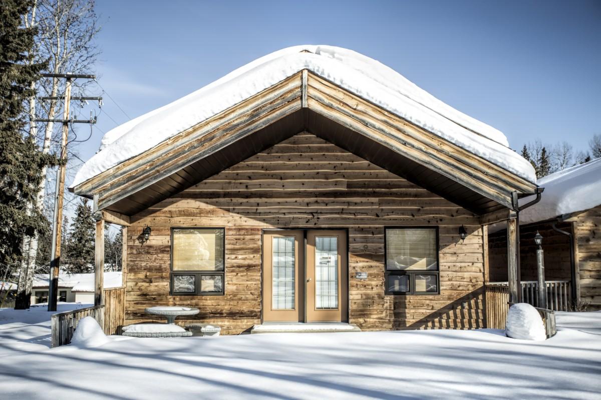 Srubové domy v zimě