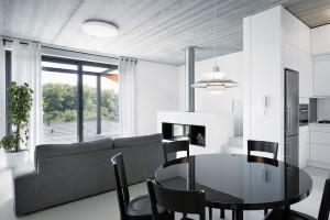 Zařízení interiéru se nese vduchu barevného řešení celého domu – střídání černé abílé, doplněno šedivou. FOTO FILIP ŠLAPAL