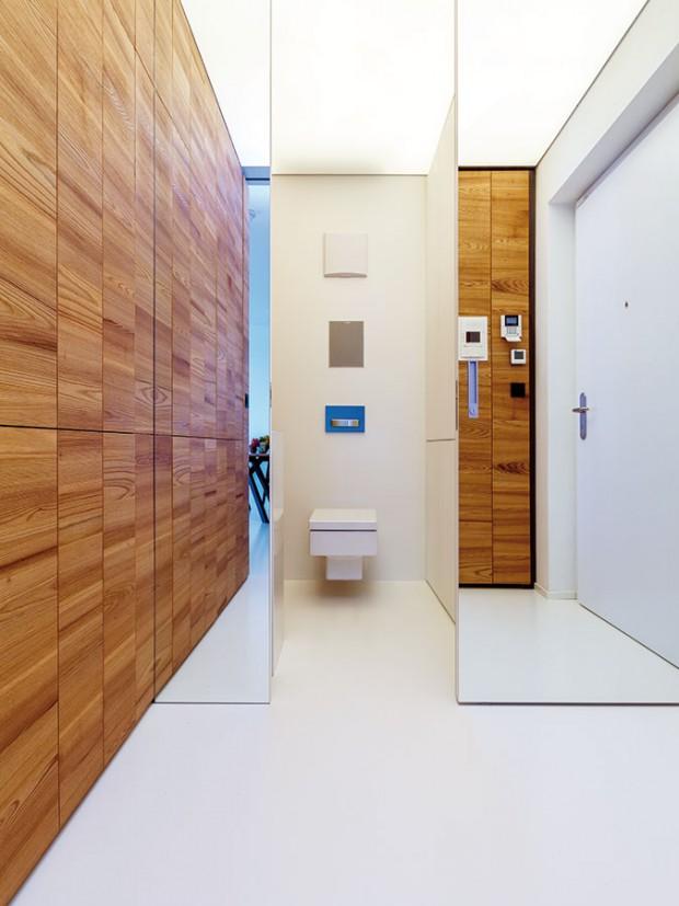 Do toalety uvstupních dveří se díky jejím velkorysým rozměrům vešla ipračka se sušičkou atéž vestavěná skříň na prádlo aručníky. FOTO DANO VESELSKÝ