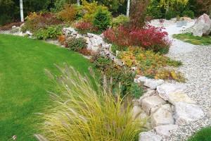 Vprůběhu plánování vzniklo hned několik verzí projektů, které řešily terénní převýšení. Ve finále zvítězila suchá zídka, do jejíchž spár, na korunu ina patu vysadili rostliny odolné suchu. Dnes utváří zajímavý kolorit zahrady. FOTO LUCIE PEUKERTOVÁ