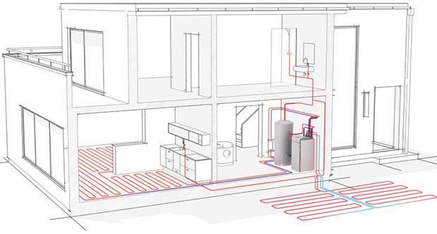 Schéma zapojení tepelného čerpadla systému země/voda se zemními kolektory. ZDROJ STIEBEL ELTRON
