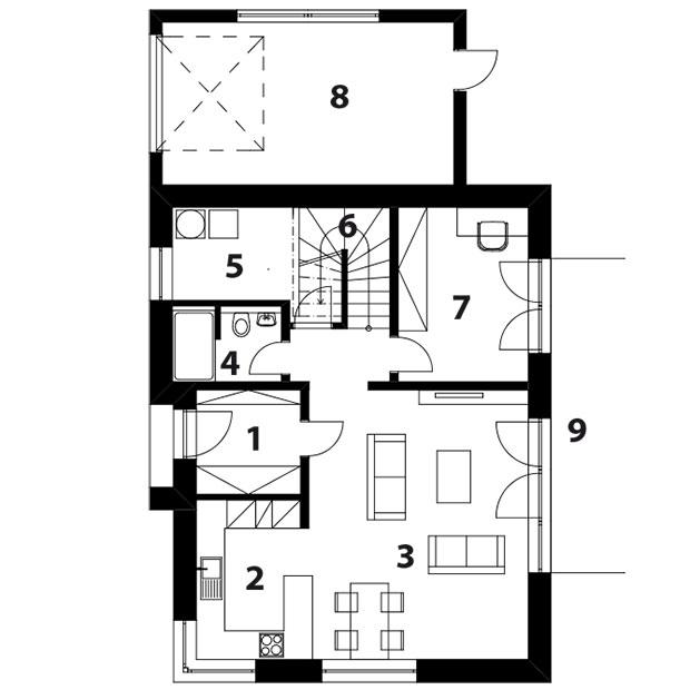 1. NP 1 vstup do domu 2 kuchyně 3 obývací pokoj s jídelnou 4 koupelna 5 technická místnost 6 schodiště 7 pokoj/pracovna 8 garáž 9 terasa