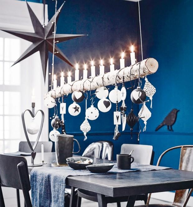 Závěsný svícen nad stůl zvětve stromu je vhodný na osvětlení izavěšení vánočních ozdob. FOTO WWW.IMPRESSIONEN.DE