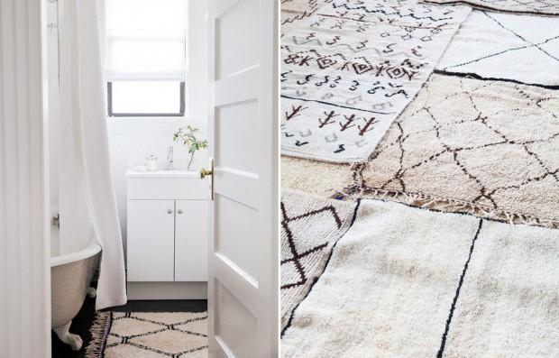 Osuší a ohřeje. Funkční doplněk koupelny ve formě koberečku ohřeje nejen studená chodidla, ale i dojem z prostoru. Koberečky z Maroka v různých vzorech a velikostech čekají na www.projectbly.com. (foto: Project Bly)