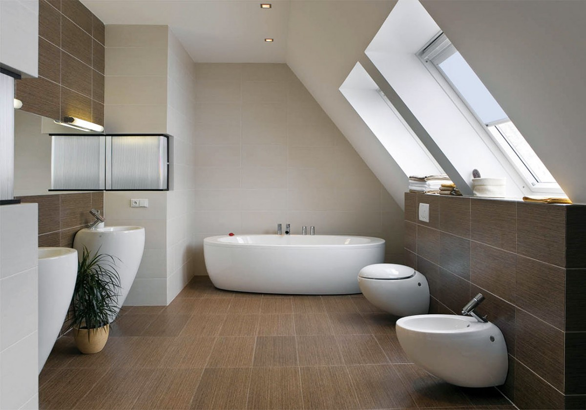 Ve stejném duchu abarevné kombinaci jako zbytek interiéru se nese také koupelna.