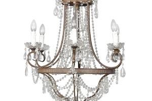 Šestiramenný lustr, kov, sklo, v. 90 cm × š. 60 cm, Animadecor, 21 800 Kč