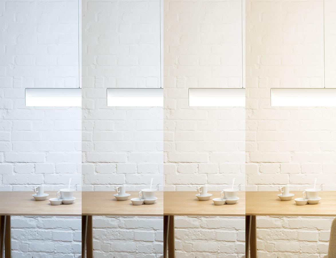 Svítidlo Sant opatřené LED zdroji umožňuje nastavit teplotu chromatičnosti (barvu světla) dle cirkadiánního rytmu. Je totiž stmívatelné amůžete si na něm nastavit barvu dle aktuální potřeby, případně imitovat denní cyklus slunce − od teplé barvy ráno, přes studenou ve dne azpět kteplé večerní. FOTO HALLA