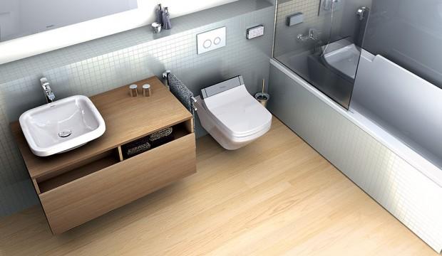 Spojením toalety bez okrajů asedátka SensoWash od společnosti Duravit vzniká sprchovací WC SensoWash Starck C, jehož tvar navrhl designér Philippe Starck.