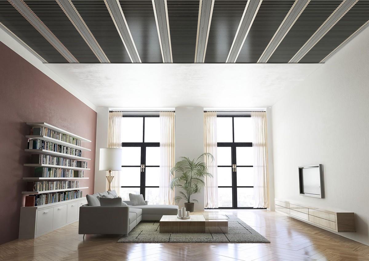 ECOFILM vizualizace stropniho vytapeni: Systém stropního vytápění s foliemi ECOFILM C (Fenix Jeseník) je stále neprávem opomíjenou oblastí, přestože má, podobně jako oblíbené a osvědčené elektrické podlahové vytápění, všechny výhody tohoto topného systému – nízké pořizovací a provozní náklady, maximální tepelný komfort a dlouhou životnost. A k nim další přednosti navíc – u stropního vytápění lze pod obkladové desky stropu instalovat vyšší příkon (140-200 W/m2) než do podlahy (40-100 W/m2), protože u stropu není na obtíž jeho vyšší teplota (cca 45°C).