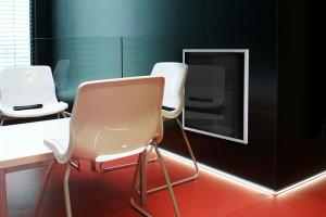Skleněné panely ECOSUN G kombinují úsporné sálavé vytápění s čistým designem skla a lze je využít v širokém spektru interiérů včetně administrativních prostor. Zdroj Fenix Trading