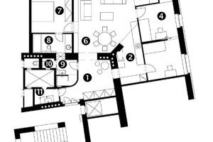 Stav po rekonstrukci 1 Hala 2 Kuchyňský kout 3 Pokoj 4 Pokoj 5 Pracovní kout 6 Obývací pokoj 7 Ložnice 8 Koupelna 9 Koupelna 10 WC 11 Technická místnost