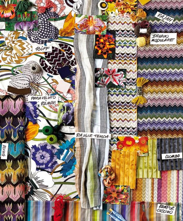 Geometrické hýření barev je pro značku Missoni Home charakteristické. Jednotlivé barevné kombinace vytažené zkvětůseskupili do výrazných textilií vhodných prakticky na každou funkci. FOTO MISSONI HOME