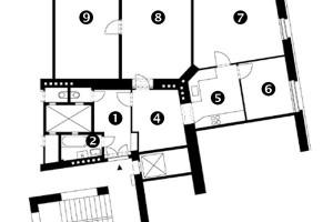 Původní stav 1 Hala 2 Koupelna 3 WC 4 Jídelna 5 Kuchyň 6 Pokoj 7 Pokoj 8 Pokoj 9 Pokoj