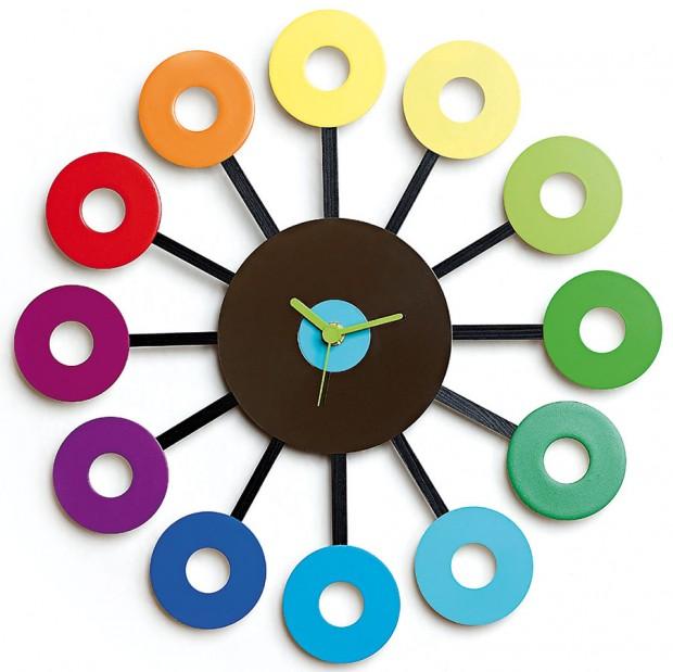 Duhové hodiny #1, pevné disky, dřevo, hodinový strojek Quartz, www.trashmade.cz, 2980 Kč