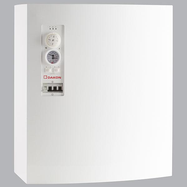 Nástěnné teplovodní elektrokotle Daline PTE jsou určeny pro vytápění bytových jednotek, rodinných domů irekreačních objektů. Lze je připojit kotopnému systému spřímým, akumulačním nebo smíšeným ohřevem. Výkon 2 až 60 kW, příkon 4 až 60 kW, účinnost 99 %. FOTO DAKON