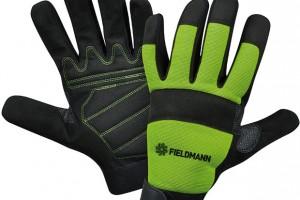 Fieldmann FZO 6010, pracovní rukavice určené na práci se stroji, zesílená dlaňová výstelka ze syntetické kůže, vrchní prodyšná část zelastické tkaniny, 199 Kč