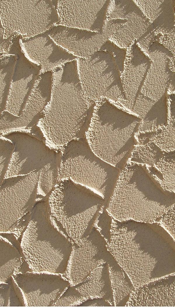 Specificky strukturovaný povrch omítky vzniká otiskem lžíce.