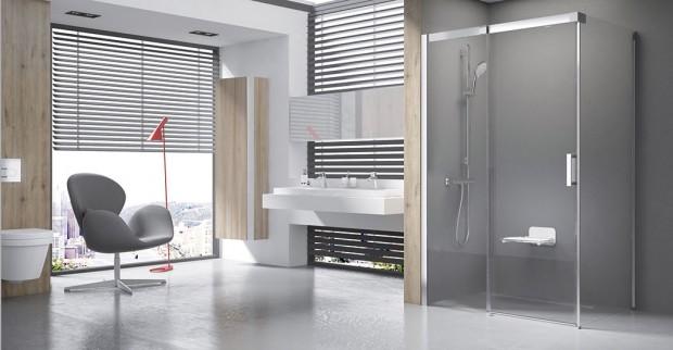 Luxusní sprchový kout Matrix představuje elegantní azároveň praktické řešení vkategorii posuvných sprchových koutů. Jednoduchý, nadčasový design − charakteristický rovnými plochými liniemi atvarem rovnoběžníku − je podpořen použitím kvalitních materiálů. FOTO RAVAK